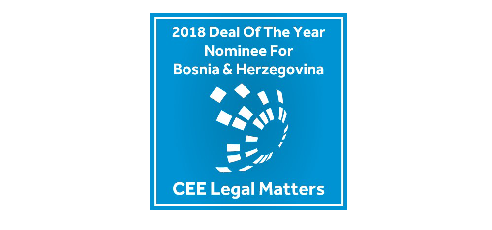 JPM Jankovic Popovic Mitic has been shortlisted for Deal of the Year in Bosnia and Herzegovina.